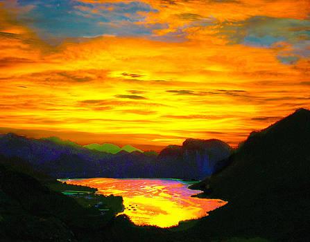 Canyon Lake Arizona Sunset Painting by Bob and Nadine Johnston