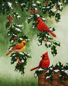 Cardinals and Holly - Version with Snow by Crista Forest