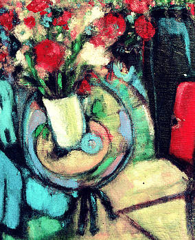 Carnations in White Vase by  Tolere