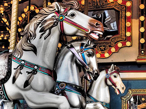Carnival Fair Ride Carousel Horses by Donna Haggerty