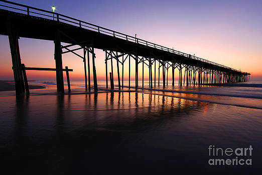 North Carolina Beach Pier - Sunrise by Wayne Moran