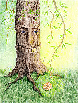 Cat and Great Mother Tree by Keiko Katsuta