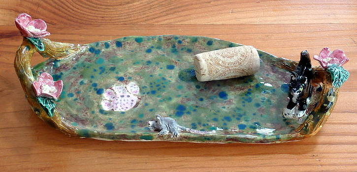 cat and mouse tray with dogwood flowers hand built in USA  by Debbie Limoli