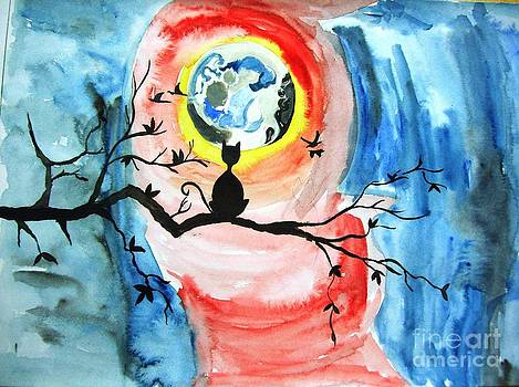Cat n Moon water color on paper by Purnima Jain