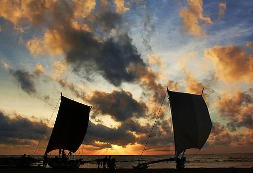 Catamarans at Dusk by Ajithaa Edirimane