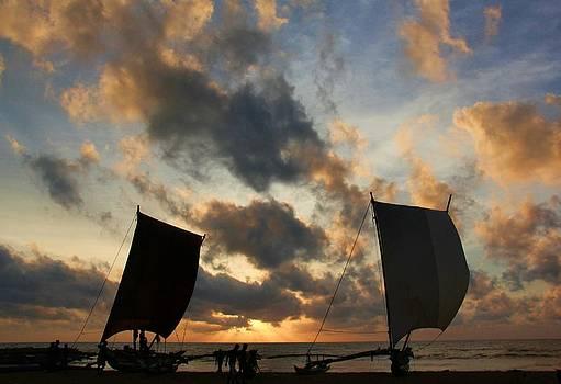 Catamarans at Sunset by Ajithaa Edirimane