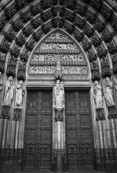 Teresa Mucha - Cathedral Doors West Entrance B W