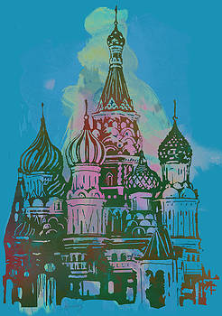 Cathedral of St Basil  Kremlin Moscow  - pop stylised art poster  by Kim Wang