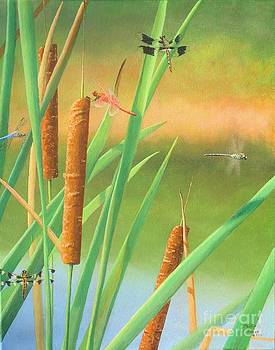 Cattails and Dragonflies by Phillip  Powell