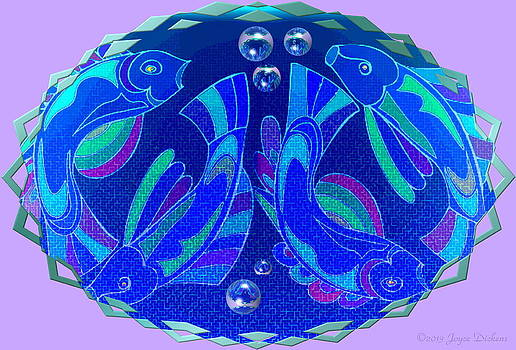 Joyce Dickens - Celtic Fish on Blue and Lavender