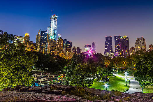 Central Park Late at Night by Val Black Russian Tourchin
