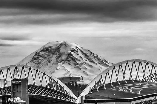 Century Link Field and Mount Rainier by Stephanie Nuttall