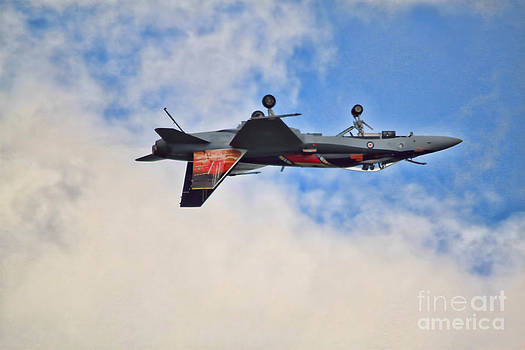 CF18 Hornet Upside Down Fly By  by Cathy  Beharriell