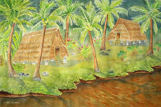 Chamorro Huts Along Talafofo River by Kathleen Rutten