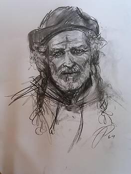 Charcoal Portrait of Artist Sculptor John Fisher by Jessica Lynn Stuart