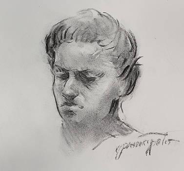 Charcoal portrait sketch by Ernest Principato