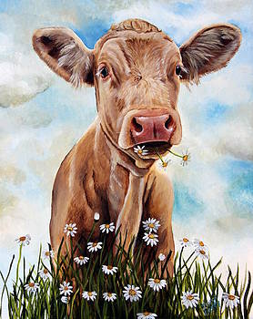 Charolais Lunch by Laura Carey