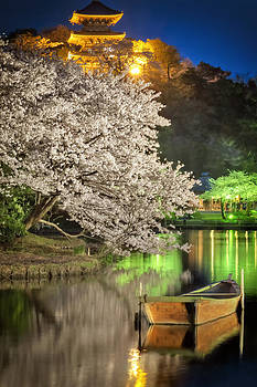 Cherry Blossom Temple boat by John Swartz