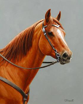 Crista Forest - Chestnut Dun Horse Painting