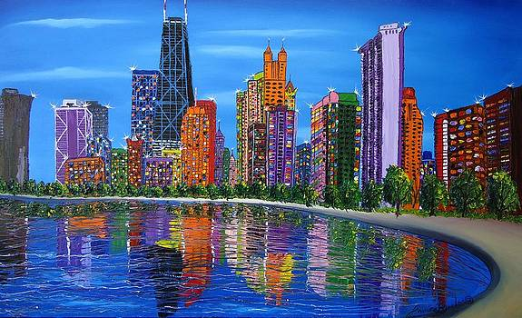 Chicago City Lights #1 by Portland Art Creations