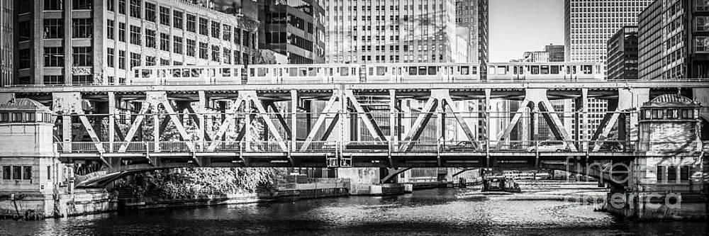 Paul Velgos - Chicago Lake Street Bridge L Train Black and White Picture
