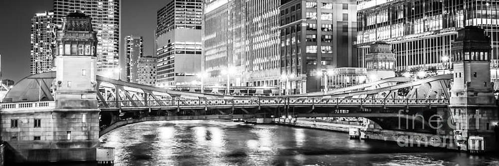 Paul Velgos - Chicago Lasalle Street Bridge at Night Panorama Photo