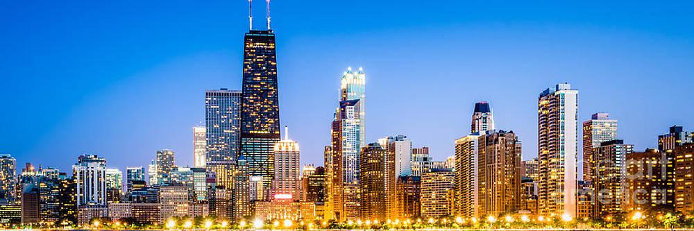 Paul Velgos - Chicago Panorama Skyline at Twilight Photo