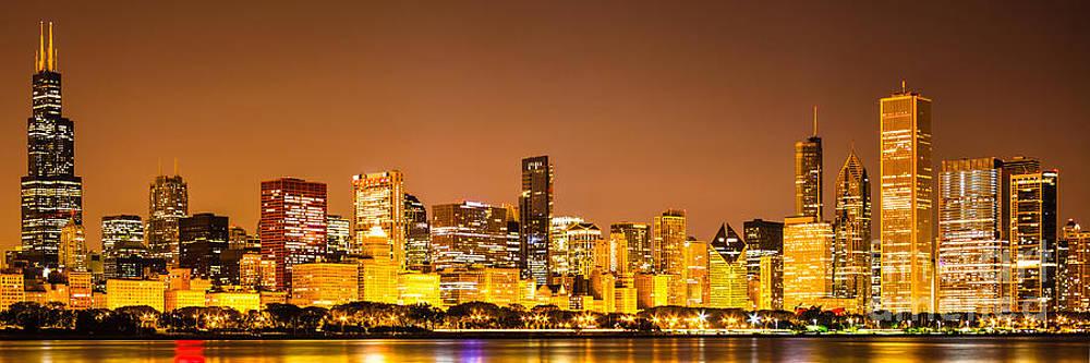 Paul Velgos - Chicago Skyine at Night Panoramic Photo
