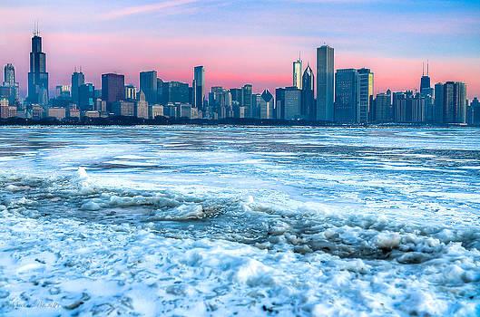 Chicago Skyline at Dawn - Lake Michigan 3-9-14 by Michael  Bennett