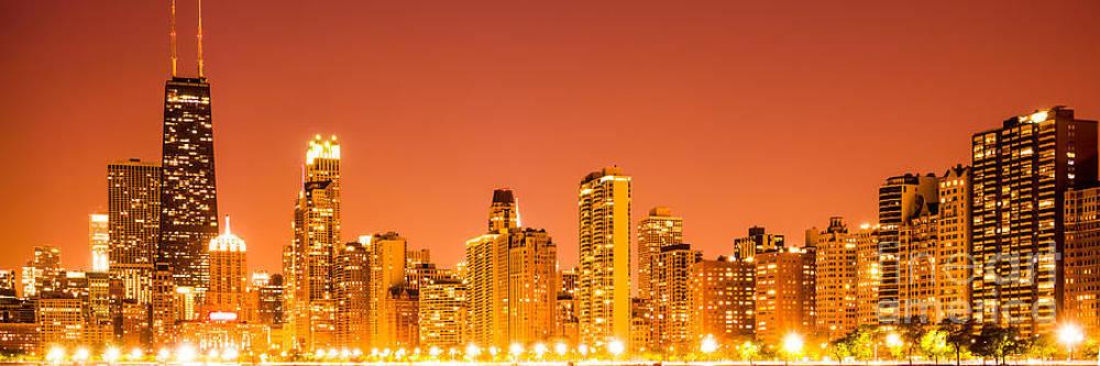 Paul Velgos - Chicago Skyline at Night Panoramic Photo in Orange