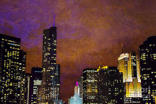 Chicago Skyline In Jewel Tones by Jeanette Brown