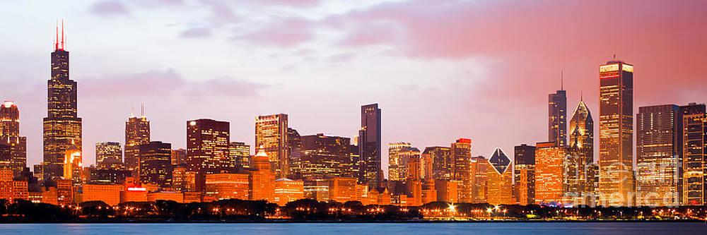 Paul Velgos - Chicago Skyline Panorama Photo at Dusk