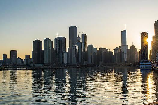 Chicago Skyline Sunset by Robert Painter