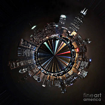 Chicago Skyline Tiny Planet by Marc Henderson