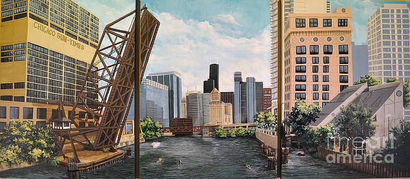 Chicago Skyline triptych by Mary Palmer
