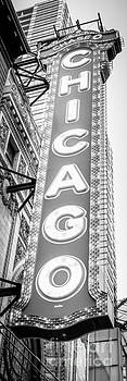 Paul Velgos - Chicago Theatre Sign Black and White Panorama