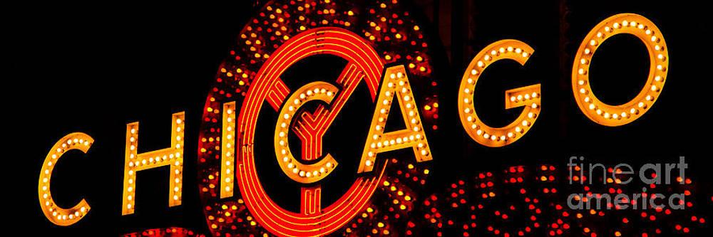 Paul Velgos - Chicago Theatre Sign Panorama Photo at Night
