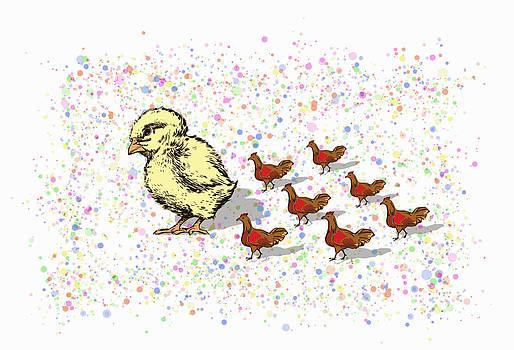 A Parede Of A Chick and Six  Chickens by Ricardo  De Almeida