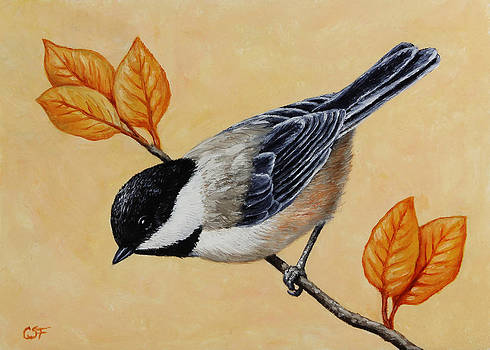 Crista Forest - Chickadee and Autumn Leaves
