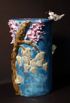 Chickadee Lilac butterfly vase hand built in the USA by Debbie Limoli