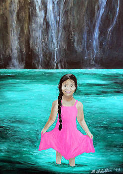 Little Girl Wading in the Water by a Waterfall by Amy Scholten
