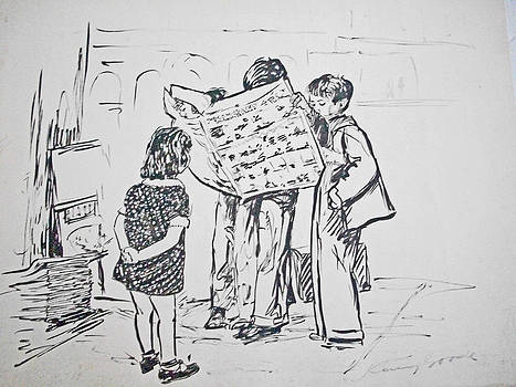 Children Reading Newspaper by Henry Goode