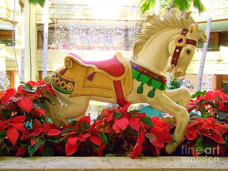 Mary Deal - Christmas Carousel Horse with Poinsettias