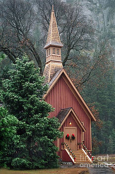 Yosemite Chapel Christmas Eve by Jennifer Lawrence
