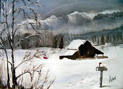 Christmas Farm House by Arlen Avernian Thorensen