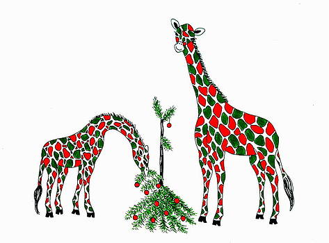 Christmas Giraffes by Jan Law
