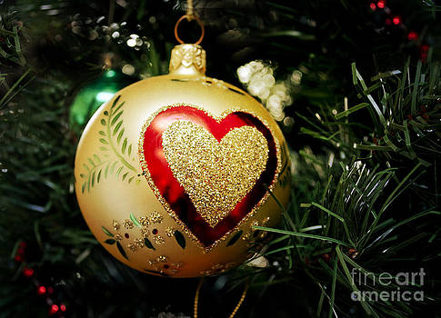 Christmas Gold Ball with Heart by Maria Janicki