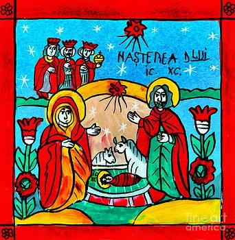 Christmas Icon Religious Naive Folk Art Nativity  by Daliana Pacuraru