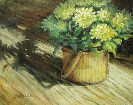 Chrysanthemums  in a Basket by Sharen AK Harris