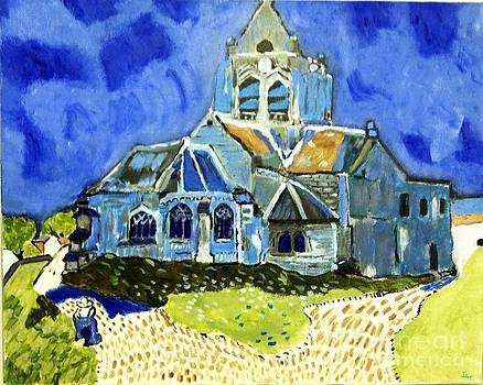 Church at Auvers VG by Israel  A Torres